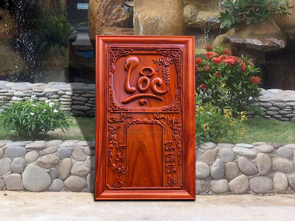 Đốc lịch Gỗ Hương Chữ Lộc 41cm x 67cm - TGPX2122