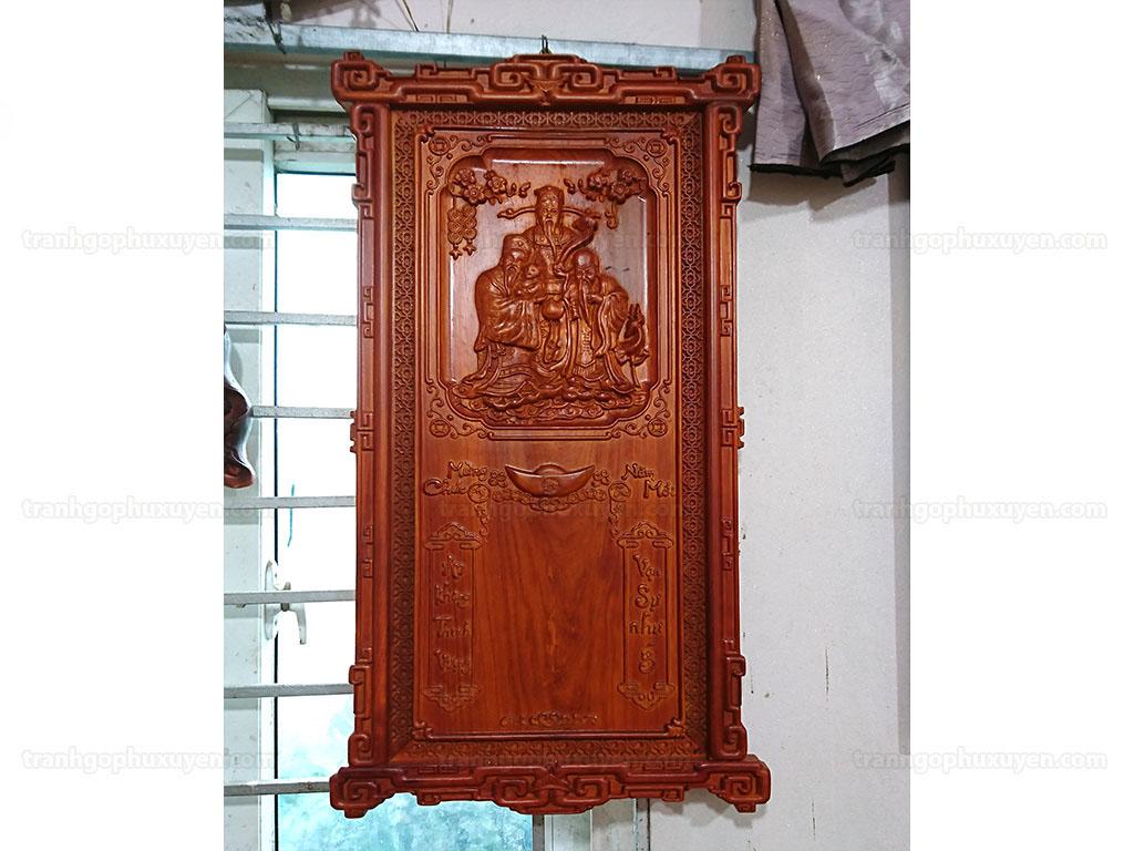 Đốc lịch gỗ hương Tam Đa pu khung triện 88cm x 48cm - TGPX2221