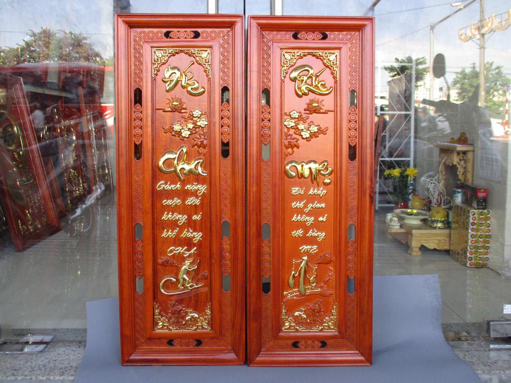 Đôi câu đối gỗ hương về Cha Mẹ kích thước 1m17 - TGPX2233