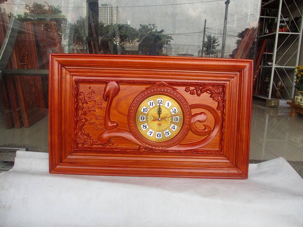 Đồng hồ gỗ hương Chữ Lộc thư pháp việt sơn pu kích thước 68cm - TGPX2307PU