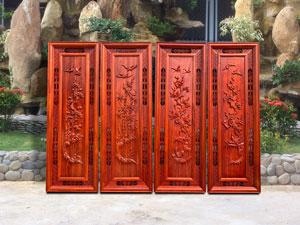 Bộ tranh tứ quý gỗ hương đỏ khung thủng - TGPX2127