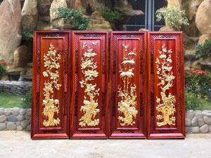 Bộ tranh tứ quý gỗ hương dát vàng - TGPX2147