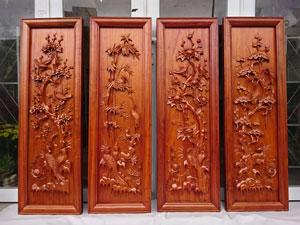 Bộ tranh tứ quý gỗ hương kênh bong - TGPX2119