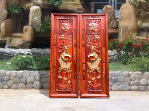 Cặp tranh cá chép Tâm Phúc gỗ hương đỏ - TGPX2040