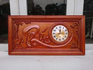 Tranh gỗ hương đồng hồ chữ Phúc pu 81cm x 41cm - TGPX2208