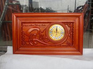 Đồng hồ gỗ hương chữ Phúc thư pháp kích thước 68cm - TGPX2305PU