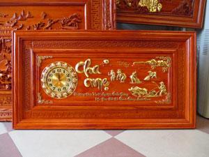 Tranh gỗ đồng hồ Công Cha Nghĩa Mẹ kích thước 1m27 - TGPX2248