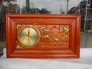 Đồng hồ gỗ hương Công Cha Nghĩa Mẹ thếp vàng kích thước 68cm - TGPX2308
