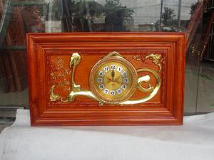Đồng hồ gỗ hương Chữ Lộc thếp vàng kích thước 68cm - TGPX2307