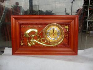 Đồng hồ gỗ hương chữ Phúc thếp vàng kích thước 68cm - TGPX2305