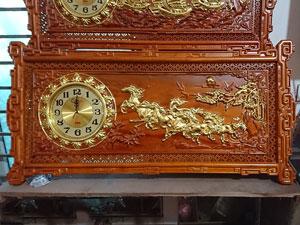 Đồng hồ gỗ hương mã đáo thành công khung triện 97cm - TGPX2218