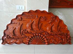 Tranh quạt gỗ hương Thuận Buồm Xuôi Gió đường kính 1m2 - TGPX2215PU