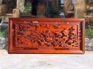 Tranh Cửu Hạc Du Xuân bằng gỗ hương - TGPX2008