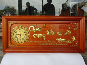 Tranh đồng hồ gỗ Công Cha Nghĩa Mẹ kích thước 108cm x 48cm - TGPX2275