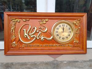 Tranh Gỗ Đồng Hồ Chữ Nhẫn Dát Vàng 81cm - TGPX2158