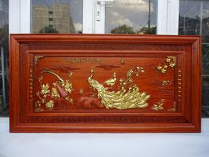 Tranh gỗ Chim Công Phú Quý Cát Tường 1m55 x 79cm - TGPX2260