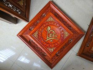 Tranh gỗ Chữ Lộc Thư Pháp mẫu Quả Trám thếp vàng 55cm - TGPX2195