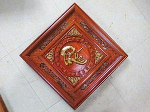 Tranh gỗ Chữ Phúc Thư Pháp mẫu Quả Trám thếp vàng 55cm - TGPX2194