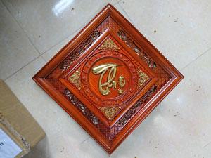 Tranh gỗ Chữ Thọ Thư Pháp mẫu Quả Trám thếp vàng 55cm - TGPX2196