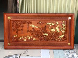 Tranh Cửu Hạc bằng gỗ hương kích thước 155cm x 79cm - TGPX2315