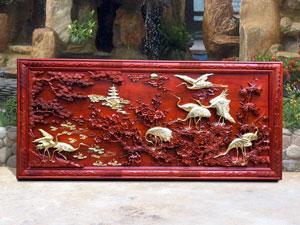 Tranh gỗ Cửu Hạc Du Xuân dát vàng tuyệt đẹp - TGPX2153