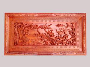 Tranh gỗ Cửu Hạc Du Xuân đục tay kênh bong 1m55 - TGPX2244PU