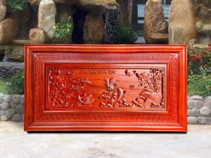 Tranh gỗ Cửu Ngư Quần Hội 1m27 pu - TGPX2005