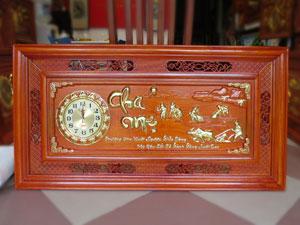Tranh đồng hồ công cha nghĩa mẹ gỗ hương 1m27 - TGPX2093