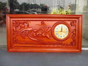 Tranh gỗ đồng hồ chữ Hiếu thư pháp sơn pu 81cm x 41cm - TGPX2298PU