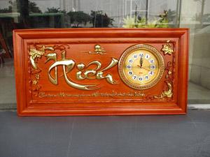 Tranh gỗ đồng hồ chữ Hiếu thư pháp thếp vàng 81cm x 41cm - TGPX2298