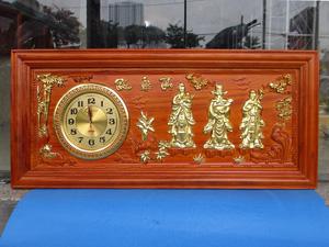 Tranh gỗ đồng hồ Phúc Lộc Thọ thếp vàng kích thước 1m08 x 48cm - TGPX2273