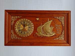 Tranh gỗ đồng hồ Thuyền Buồm 88cm x 48cm - TGPX2185