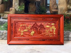 Tranh gỗ đồng quê dát vàng 1m27 - TGPX2131