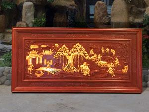 Tranh gỗ Đồng Quê dát vàng 2m17 - TGPX2037