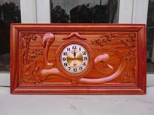 Tranh gỗ hương đồng hồ chữ Lộc thư pháp pu 81cm x 41cm - TGPX2209