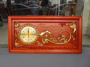 Tranh gỗ hương đồng hồ chữ Phúc thư pháp thếp vàng đẹp 81cm - TGPX2001-1