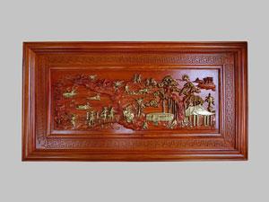 Tranh Gỗ Hương Phong Cảnh Đồng Quê 1m27 - TGPX2050