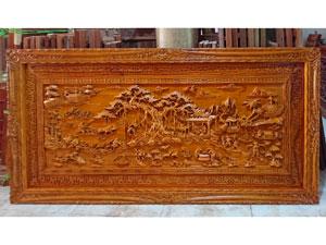 Tranh gỗ hương Đồng Quê đục tay kênh bong khung triện 2m07 - TGPX2223PU