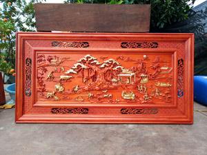 Tranh gỗ hương Phong Cảnh Đồng Quê thếp vàng 1m55 - TGPX2202