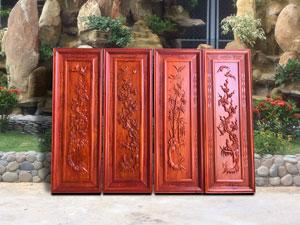 Bộ tranh tứ quý gỗ hương đỏ nam phi bốn bức - TGPX2137