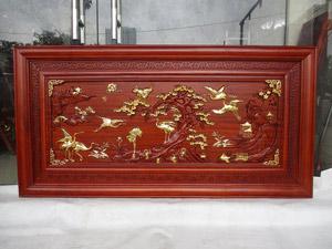 Tranh gỗ hương Tùng Hạc thếp vàng 1m55 x 79cm - TGPX2312