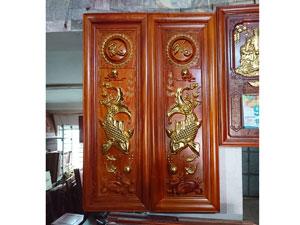 Tranh gỗ hương Lý Ngư Vọng Nguyệt 1m17 - TGPX2222