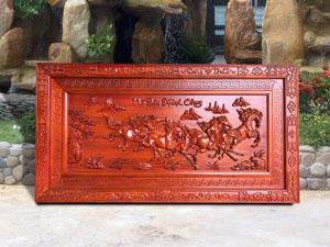 Tranh Mã Đáo Thành Công gỗ hương đỏ 1m55 - TGPX2012