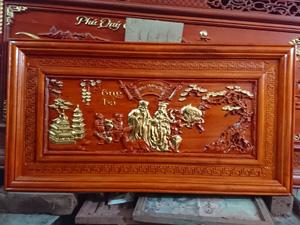 Tranh gỗ mừng thọ ông bà dát vàng 127cm x67cm - TGPX2186