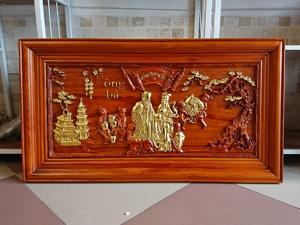 Tranh gỗ mừng thọ ông bà dát vàng 88cm x 48cm - TGPX2187