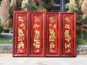 Bộ tranh gỗ tứ quý Phúc Lộc Thọ Hỷ dát vàng - TGPX2027