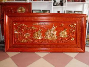 Tranh gỗ hương Thuận Buồm Xuôi Gió thếp vàng 197cm x 97cm - TGPX2212