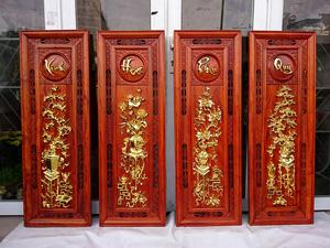 Bộ Tranh Gỗ Tứ Bình Vinh Hoa Phú Quý Dát Vàng 115cm x 39cm - TGPX2192