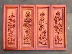 Tranh gỗ Tứ Quý bốn mùa đục tay gỗ hương cao cao tuyệt đẹp - TGPX2311PU