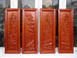 Tranh tứ quý bốn mùa xuân hạ thu đông gỗ hương loại đẹp pu 37cm x 107cm - TGPX2261PU
